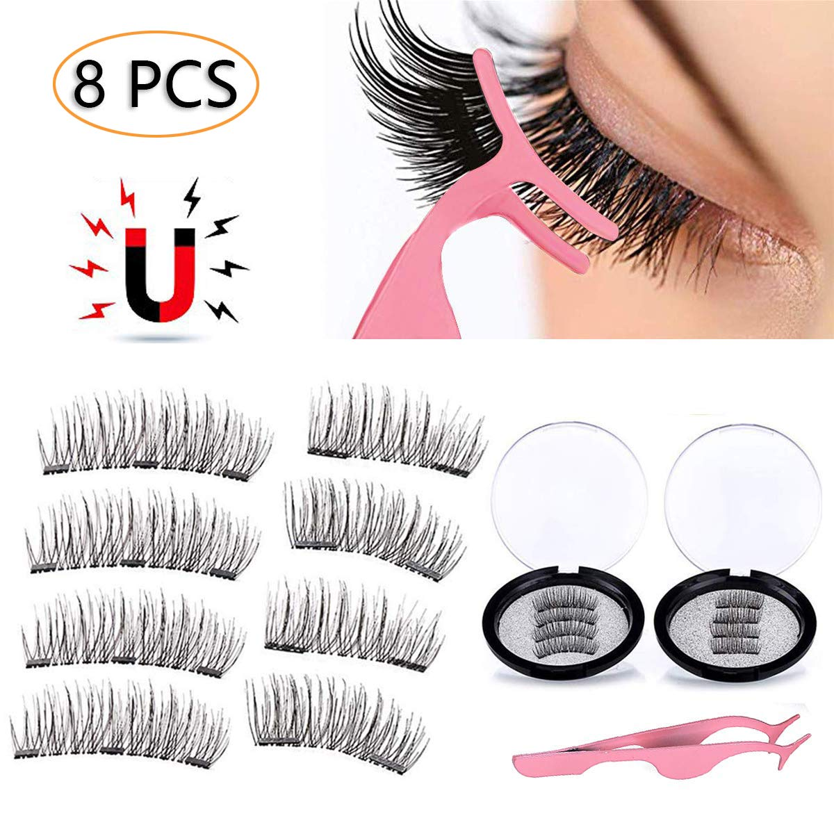 f21bec2640b 3D Magnetic Eyelashes Natural Full Eye Magnetic Lashes Ultra Thin Reusable  & Handmade 3 Magnet Eyelashes