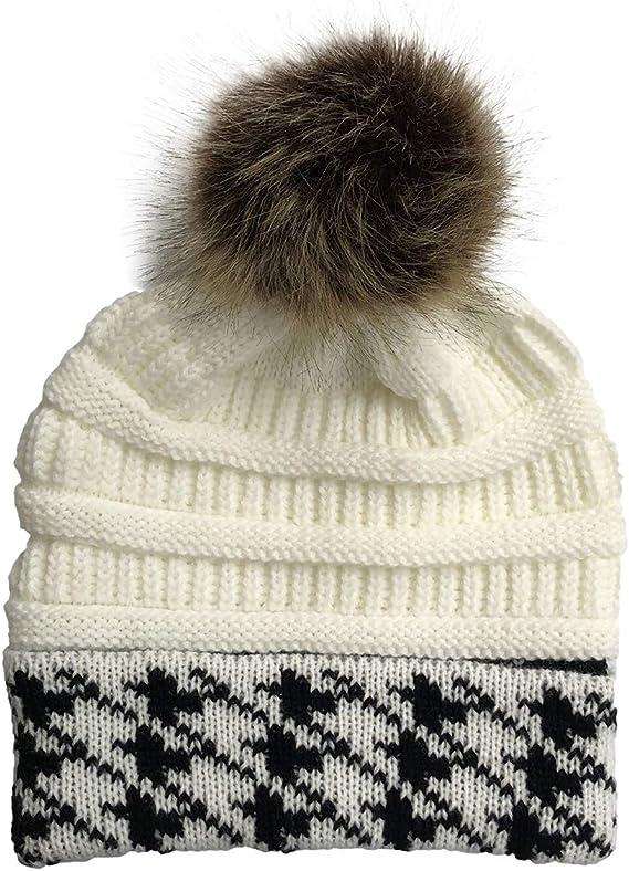 Mens Woolen Knit Slouch Beanie Bobble Hat Ski Cap Warm Winter Hats Outdoor Look