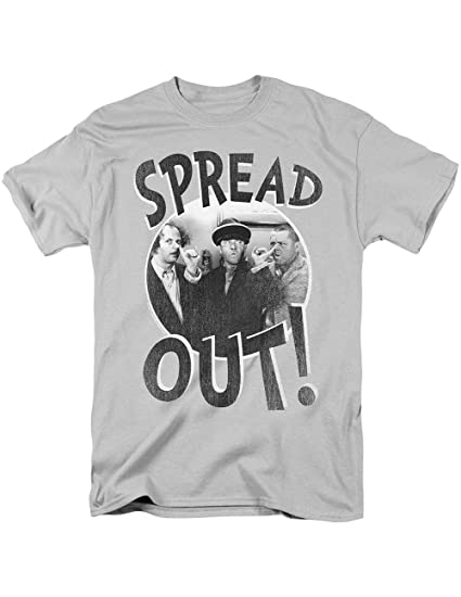ac56454d Image Unavailable. Image not available for. Color: CloseoutZone Three  Stooges Spread Out Gray T-Shirt, Larry Moe and Curly