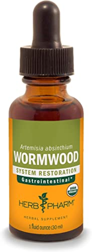 Herb Pharm Certified Organic Wormwood Liquid Extract for Digestive System Support – 1 Ounce