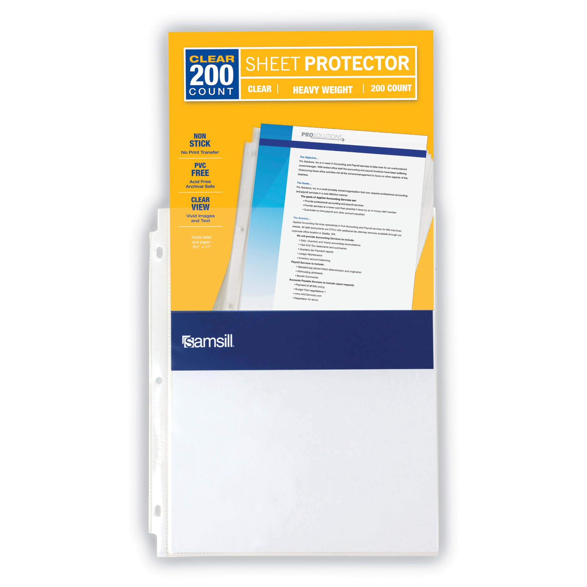 Samsill Heavyweight Clear Sheet Protectors, Box of 200 Plastic Page Protectors, Acid Free/Archival Safe, Top Load 8.5 x 11 inches by Samsill (Image #3)