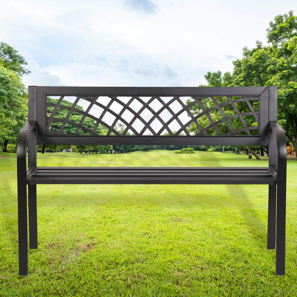 FDW Patio Park Garden Bench Porch Path Chair Outdoor Deck Steel Frame, Black