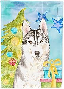 Caroline's Treasures CK1861GF Christmas Tree Siberian Husky Flag Garden Size, Small, Multicolor
