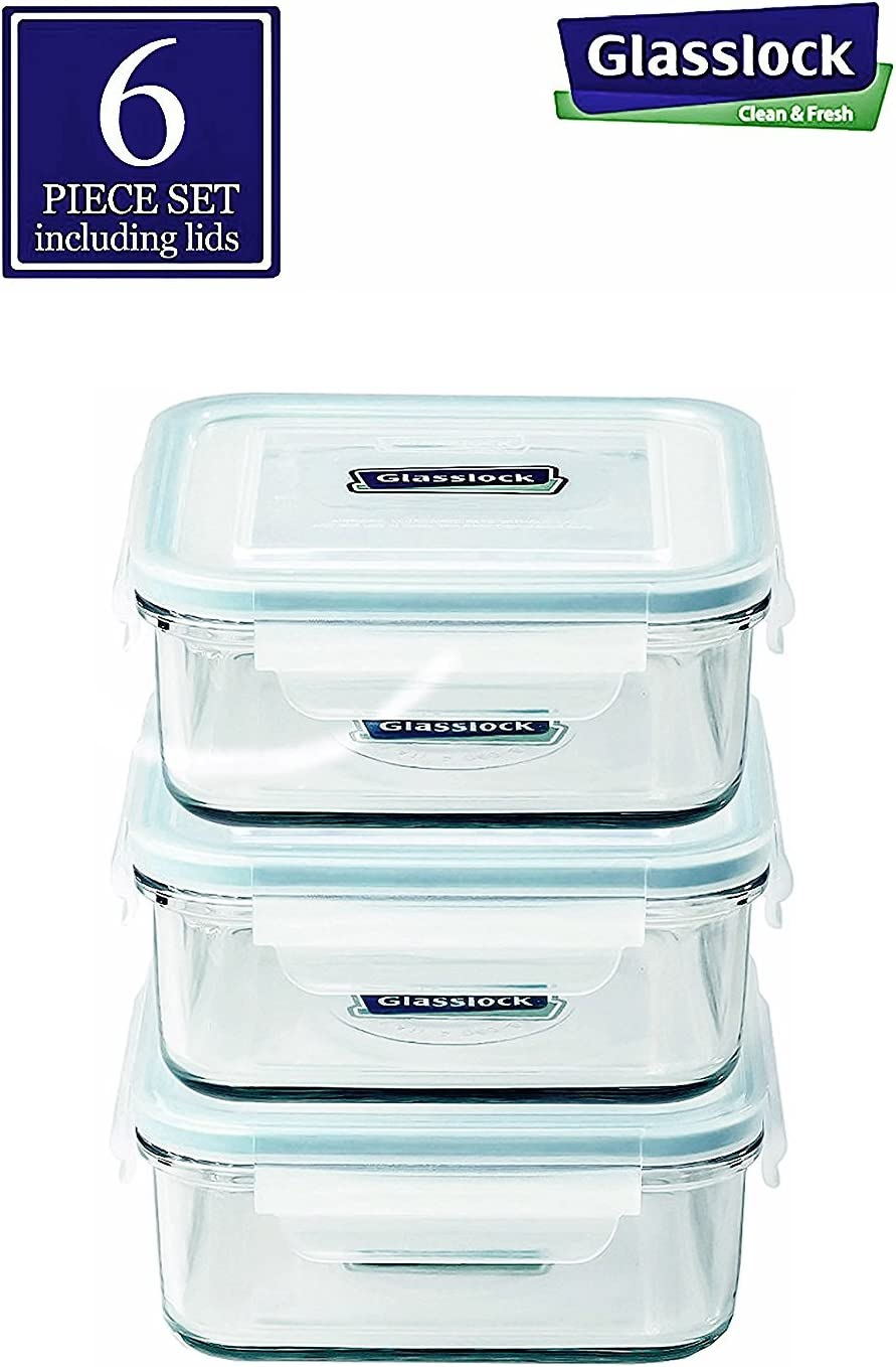 Glasslock Food-Storage Container with Locking Lids, Oven and Microvave Safe, Square, 17oz, 6 piece set Including Lids