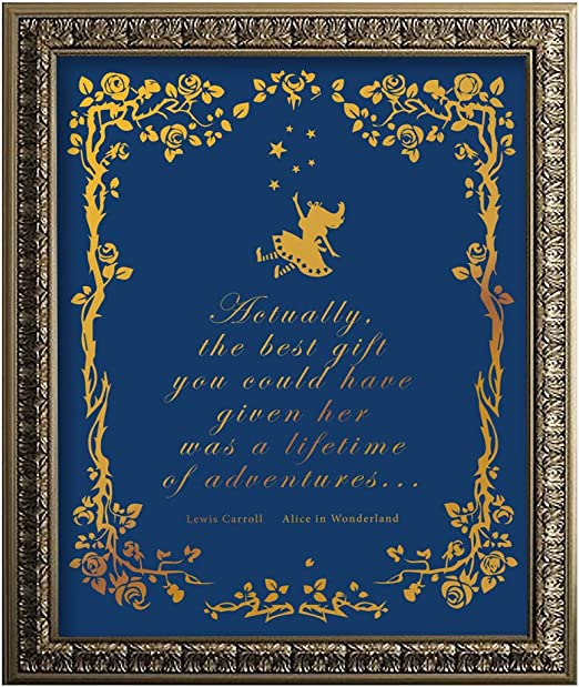 Amazon Com Alice In Wonderland Quotes Inspiring Quote Gold Foil Wall Art Print Great Gift For Living Room Bedroom Office Decor 11 X 14 Unframed Posters Prints