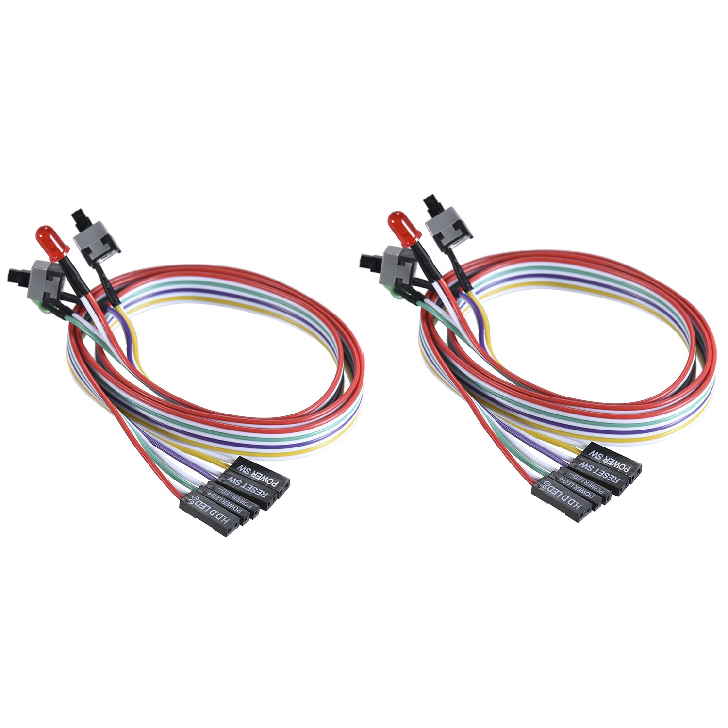 Warmstor 2-Pack Computer Case LED Light Red Green ATX Power Supply Reset HDD Switch Cable 27-inch Long ATX Case Front Bezel Wire Kit by Warmstor (Image #8)