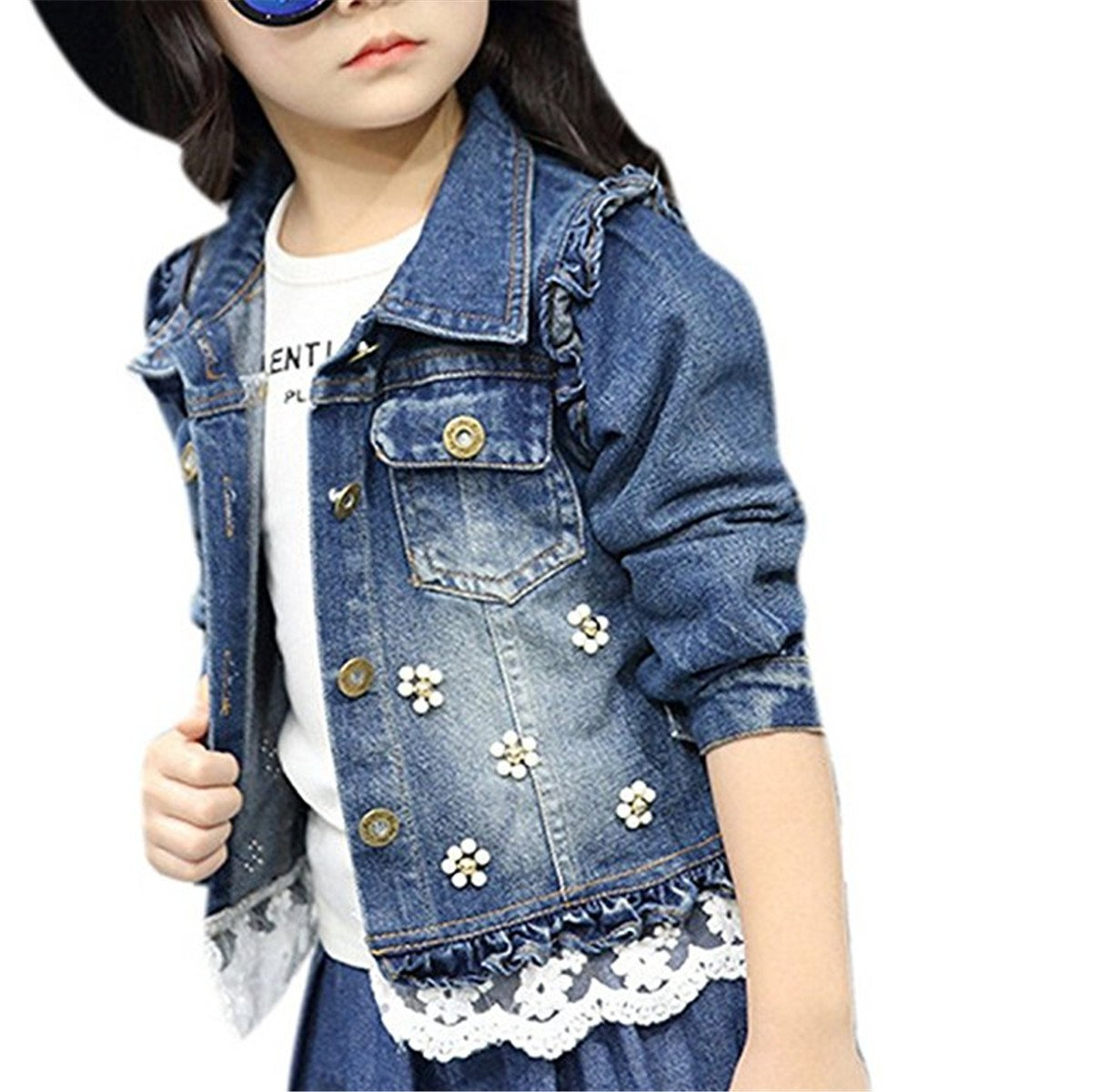 JELEUON Little Big Girls Kids Flower&Lace Patch Front Buttons Denim Short Jacket Coat Outwear