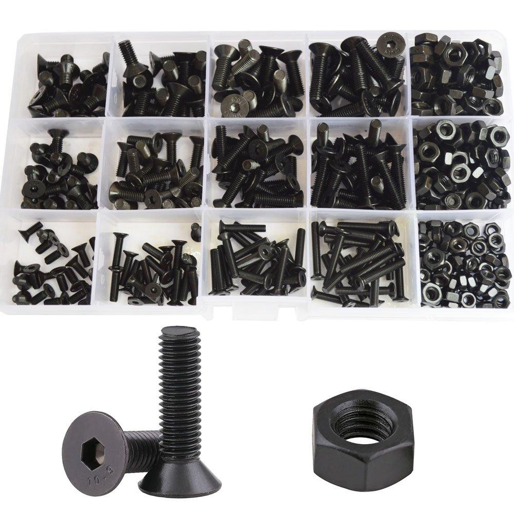 Flat Head Hex Socket Cap Screws Metric Countersunk Bolts Nuts Hardware Assortment Kit 500pcs Alloy Steel 10.9 Class Black(M3 M4 M5)