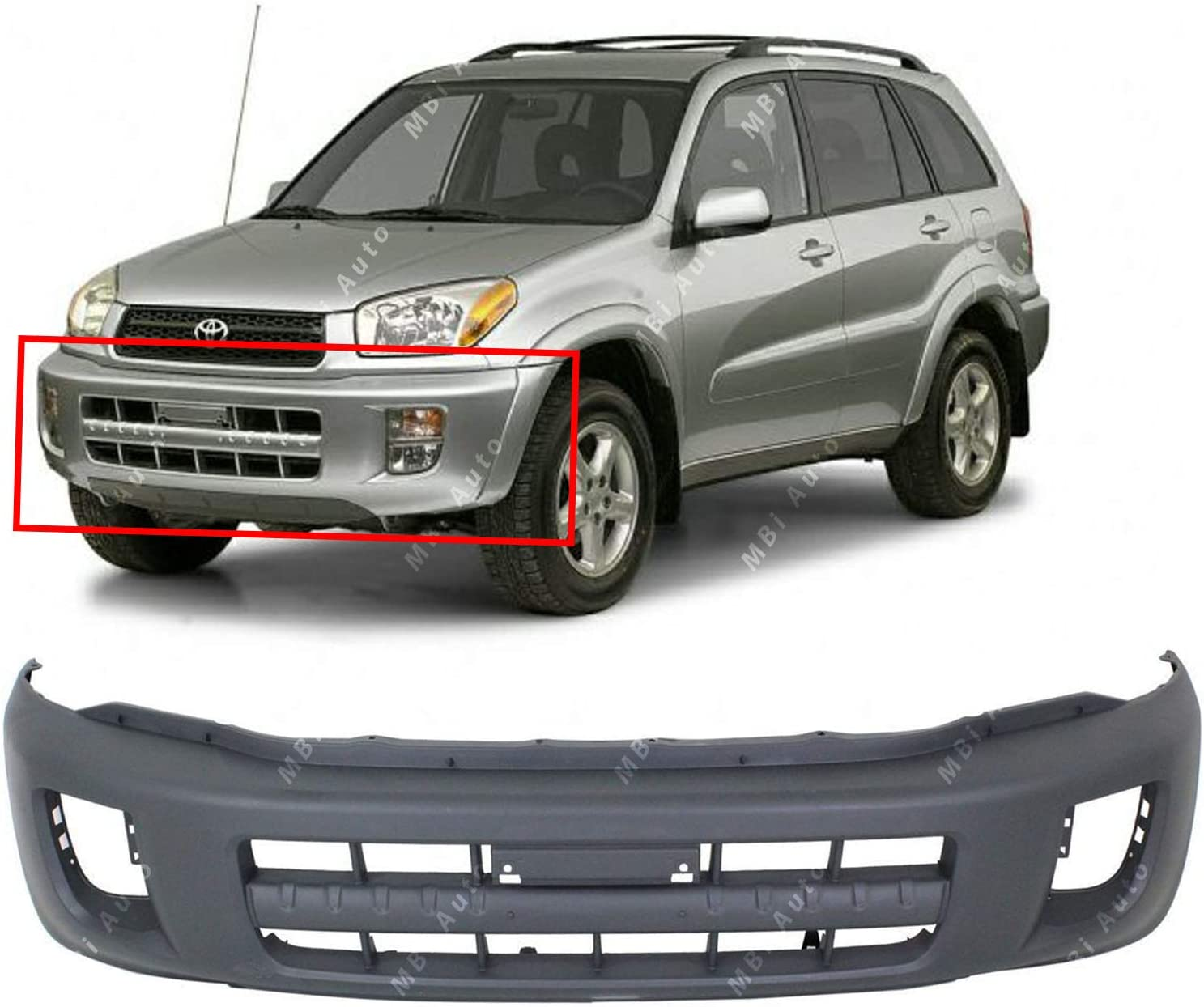 Front Bumper Cover Textured Compatible with 2001-2003 Toyota RAV-4