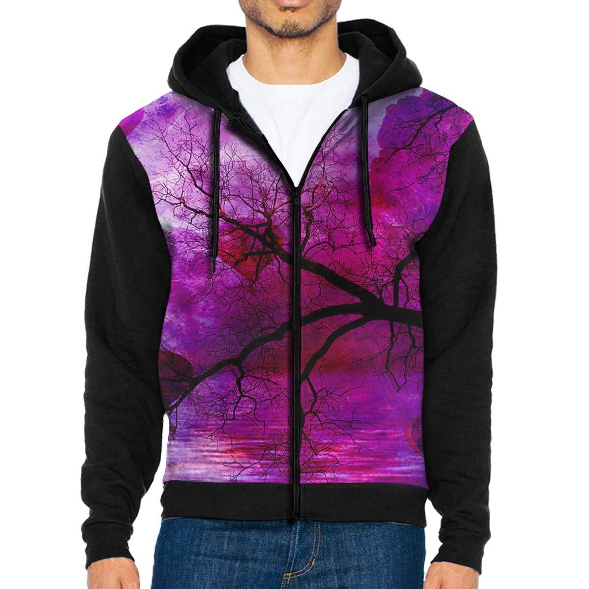 HEHE TAN Mens Pullover Hood Fantasy Purple Pink Trees Zip Hoodies Hooded Popular Jackets Coats