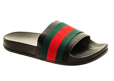 6f26b5b622b2 Fuchia boutique Women s Designer Inspired Rubber Sliders Red Green Striped Flip  Flops Black (3 UK