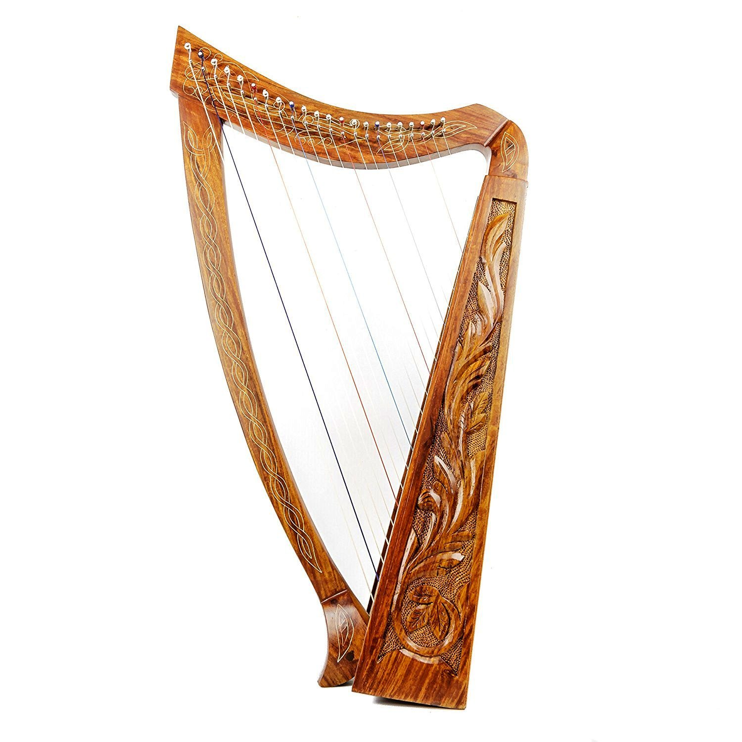 Harp 22 Strings with Hand Engraved With free Tuning Key , Carrying Case and Extra Strings