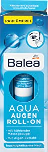 Balea Eye Cream Aqua Eye Roller with Seaweed Extract and Vitamin E - Eye Treatment with Cooling Massage Ball 15 ml, Germany