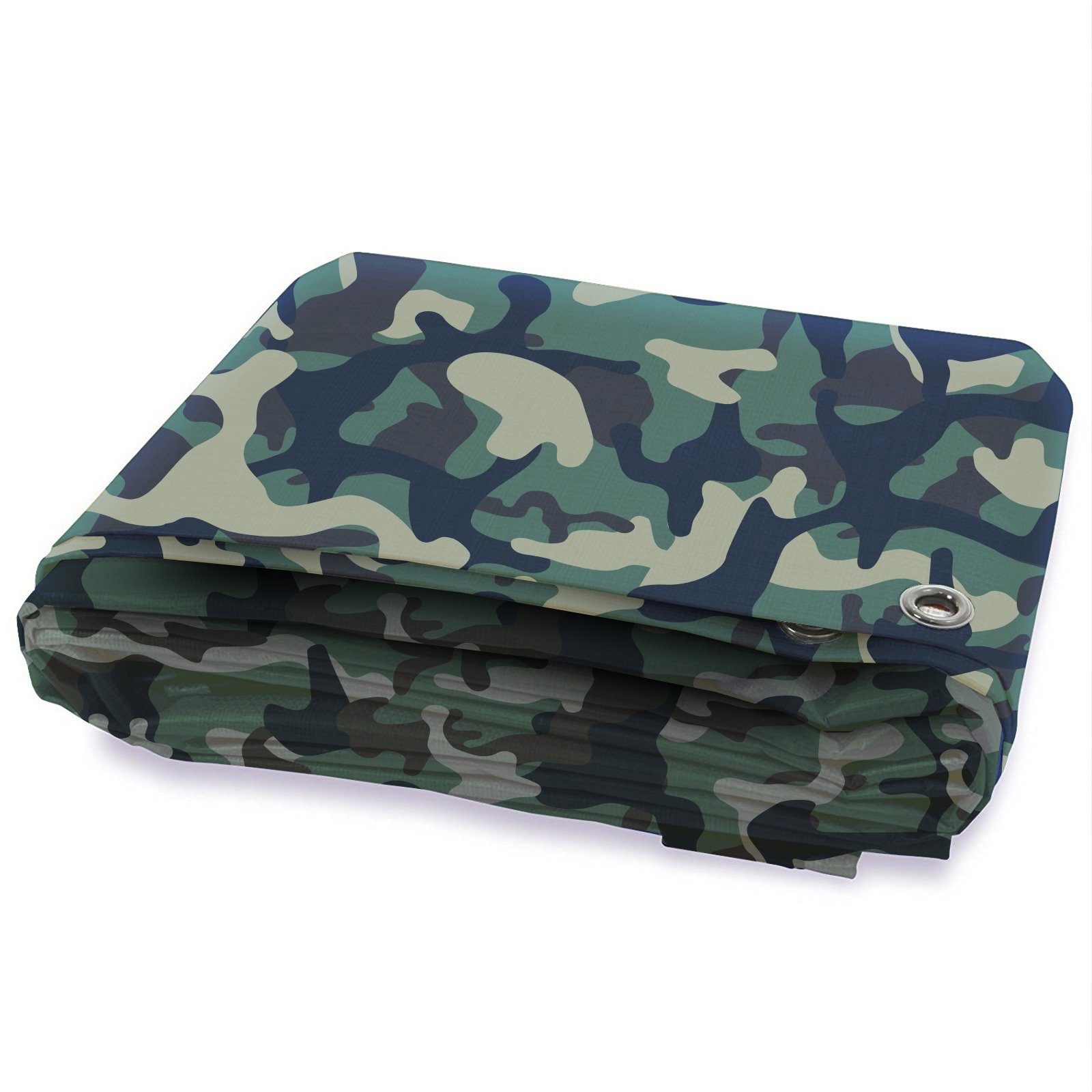 Tarps Waterproof | Ground Tent Trailer Cover | Large Tarpaulin in Multiple Sizes | 3 oz/Sq Yd | Camo 16' x 20'