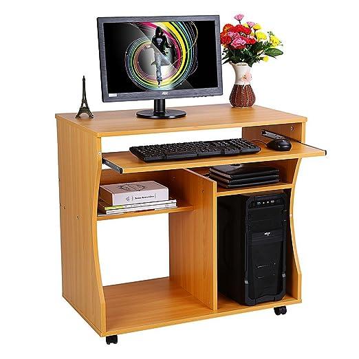 Escritorio de la computadora, estudio de madera, estación de ...