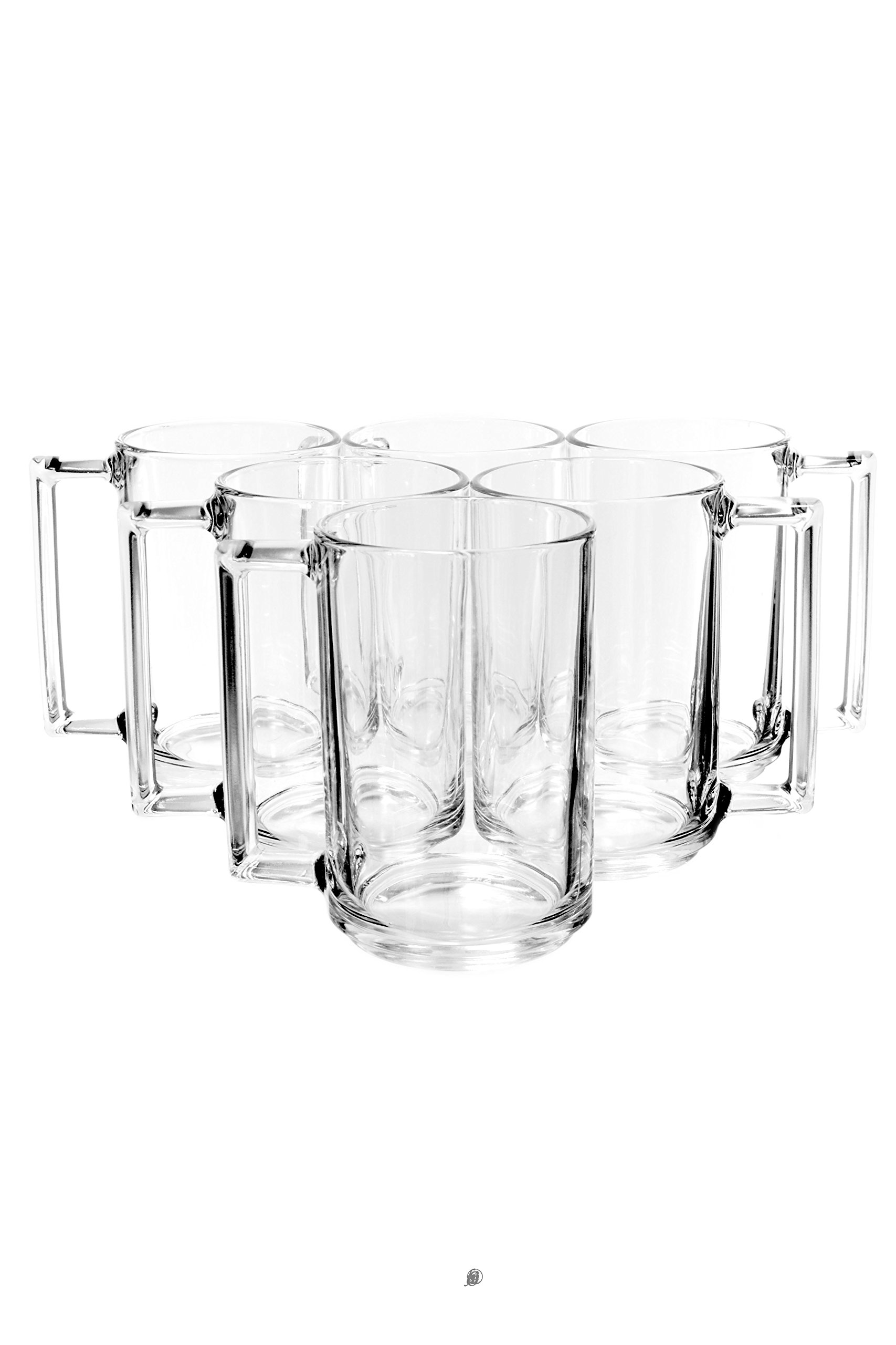 Set of 6 ARC-France Tempered Glass 10.8oz Hot Cold Drink Coffee/Tea Mugs Glasses