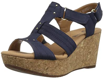 93743fa8a701 CLARKS Women s Annadel Orchid Wedge Sandal Navy 11 ...