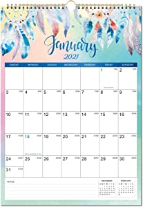 """2021 Wall Calendar - Monthly Wall Calendar with Thick Paper, Jan 2021 - Dec 2021, 12"""" x 17"""", Large Blocks with Julian Dates, Twin-Wire Binding, Hanging Hook, Perfect for Planning and Organizing"""