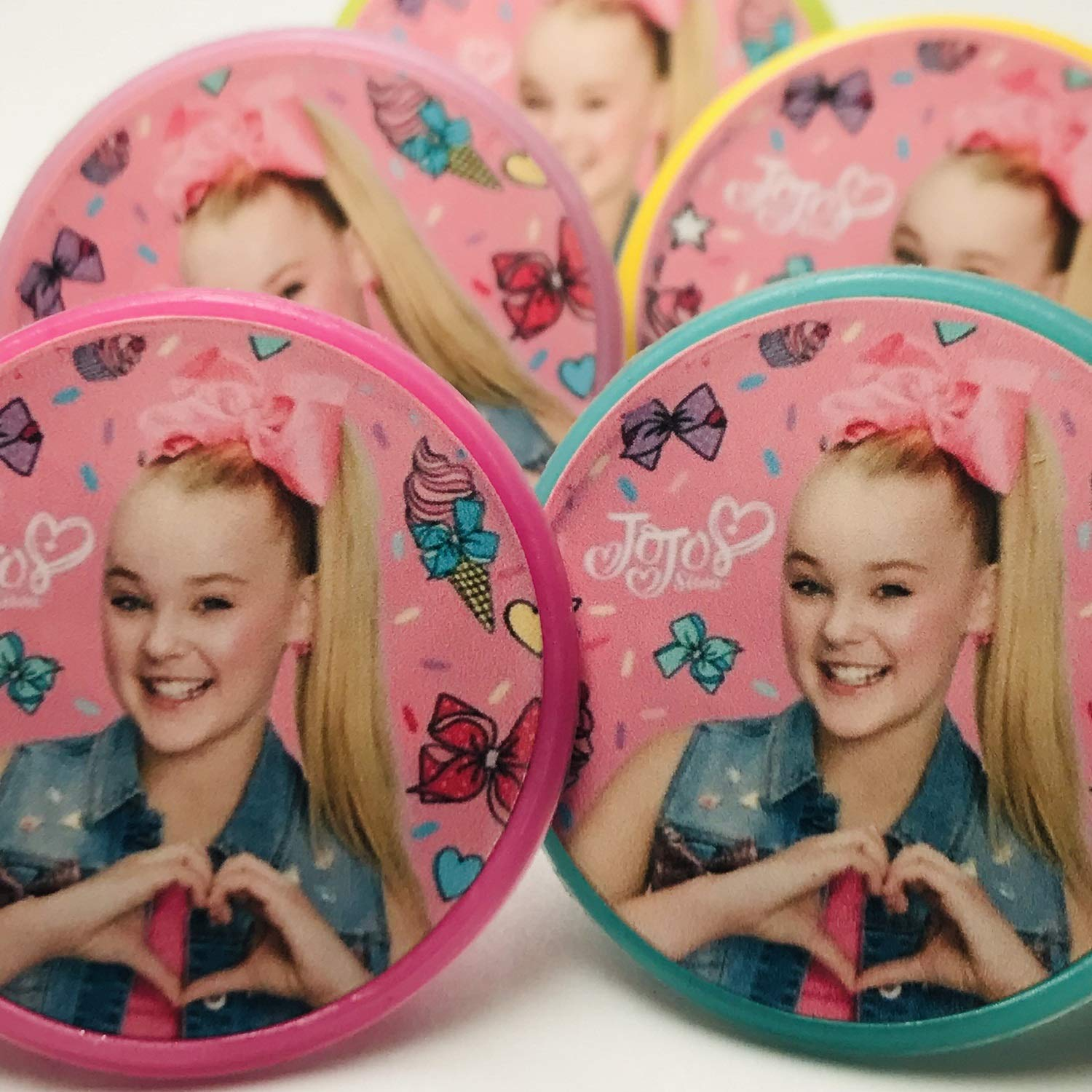 Jojo Siwa Cupcake Toppers Rings Birthday Party Favors Supplies