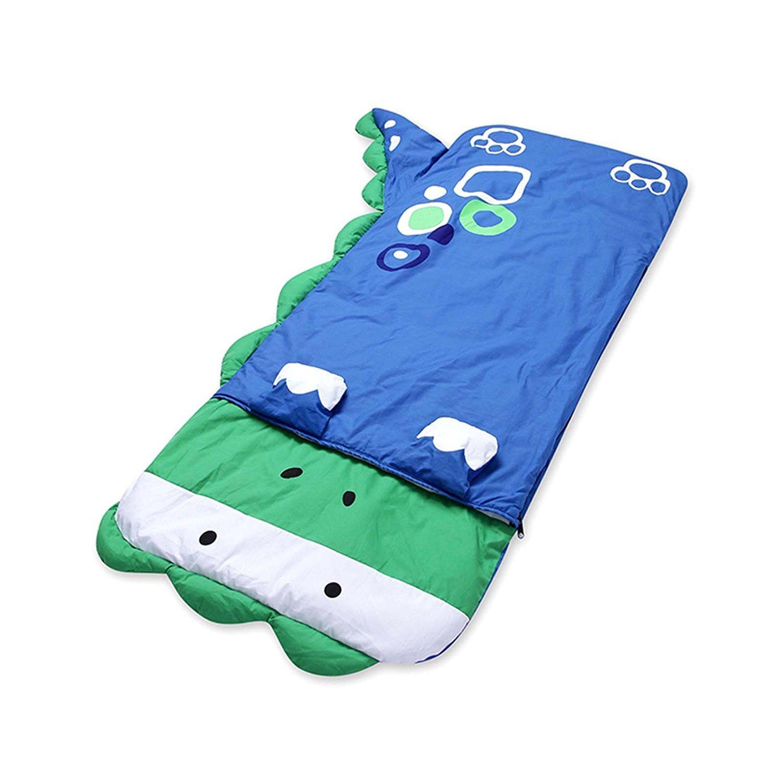 HuntGold Big Cartoon Child Boy and Girl Sleeping Bag Sheet Slumber Bag w/Pillow 140cm*60cm(blue dinosaur)