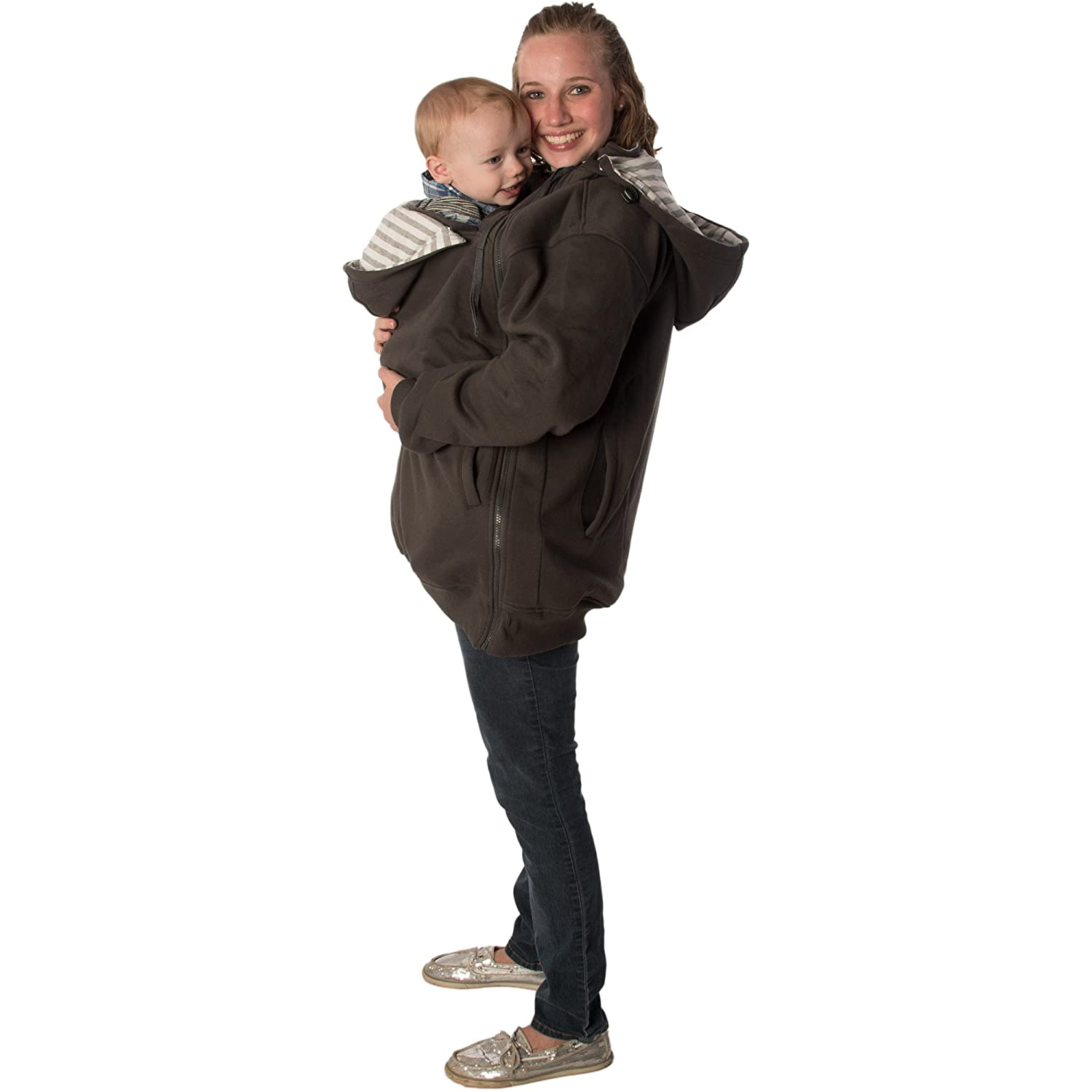 RooCoat Babywearing Maternity Coat 2.0 Charcoal with Gray Stripes Large