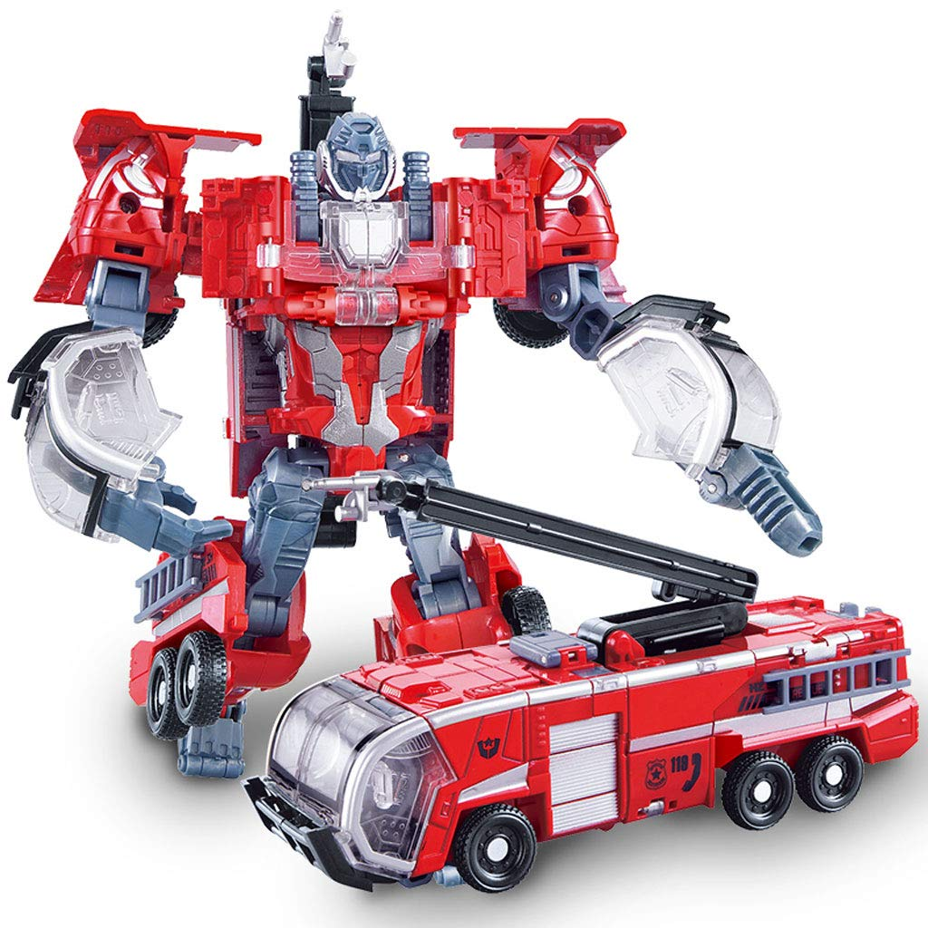 Siyushop Heroes Rescue Bots,5-in-1 Robot Model,Motorcycle, Fire Truck, Big Crane, Excavator, Ambulance, Combat Robot Model,Children's Deformation Toy (Color : Fire Truck)