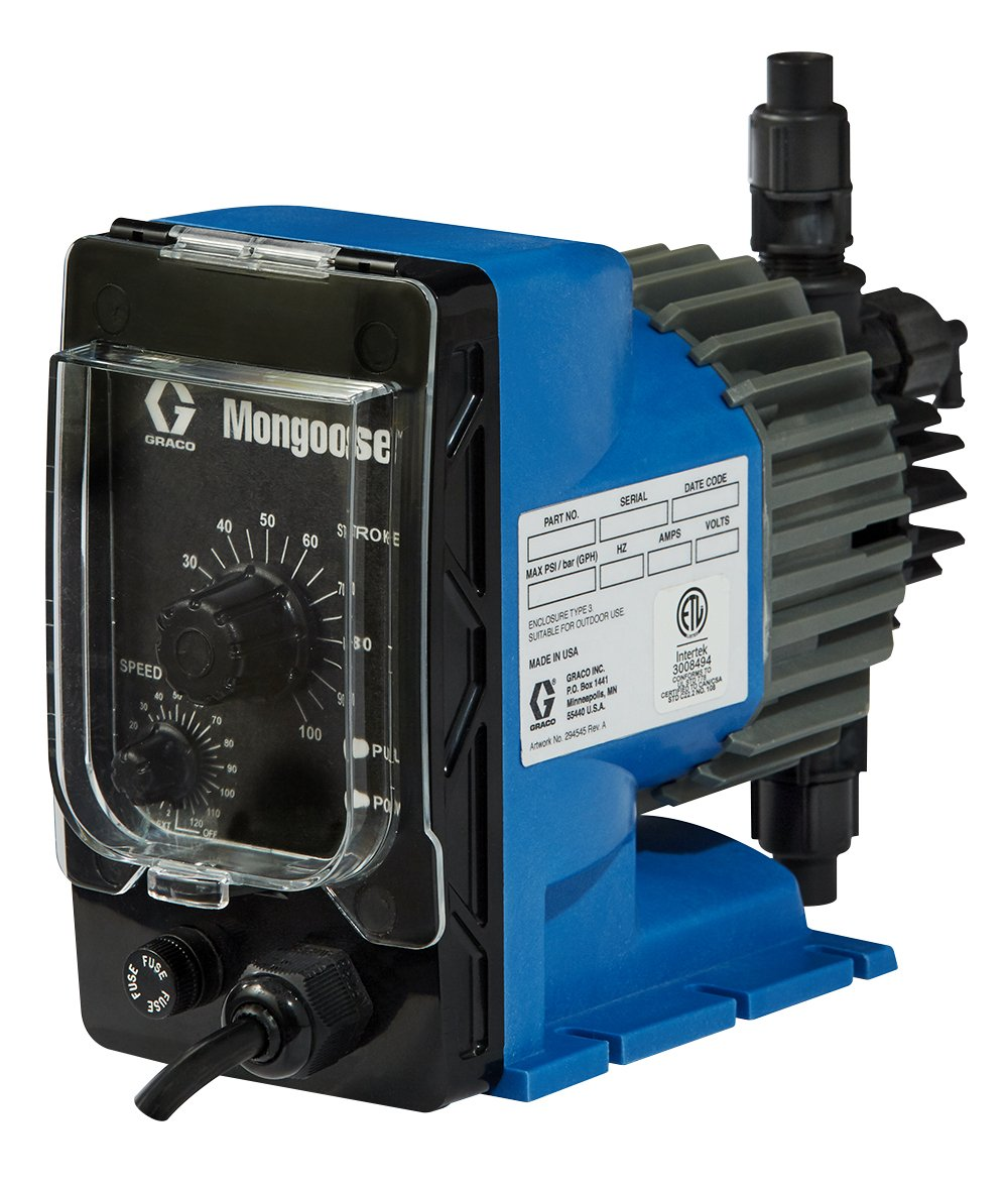 Mongoose A21011 Electric Chemical Metering Pump, 45 GPD, 120 VAC, PVDF