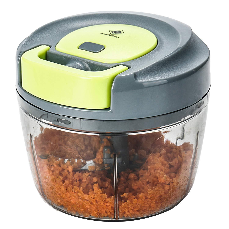 Kalokelvin Food Chopper: 3-Cup Powerful Manual Hand Held Chopper/Mincer/Mixer/Blender to Chop Fruits, Nuts, Herbs, Onions, VegetablesBlender Processor/Food Processor (750ML)