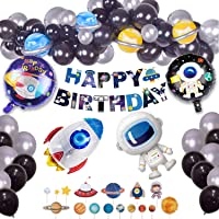 Parballoonia 76 pack Outer Space Birthday Party Decorations Astronaut Rocket Balloons Happy Birthday Banner Cupcake Toppers Metallic Silver Black Latex Balloons Space Party Decorations