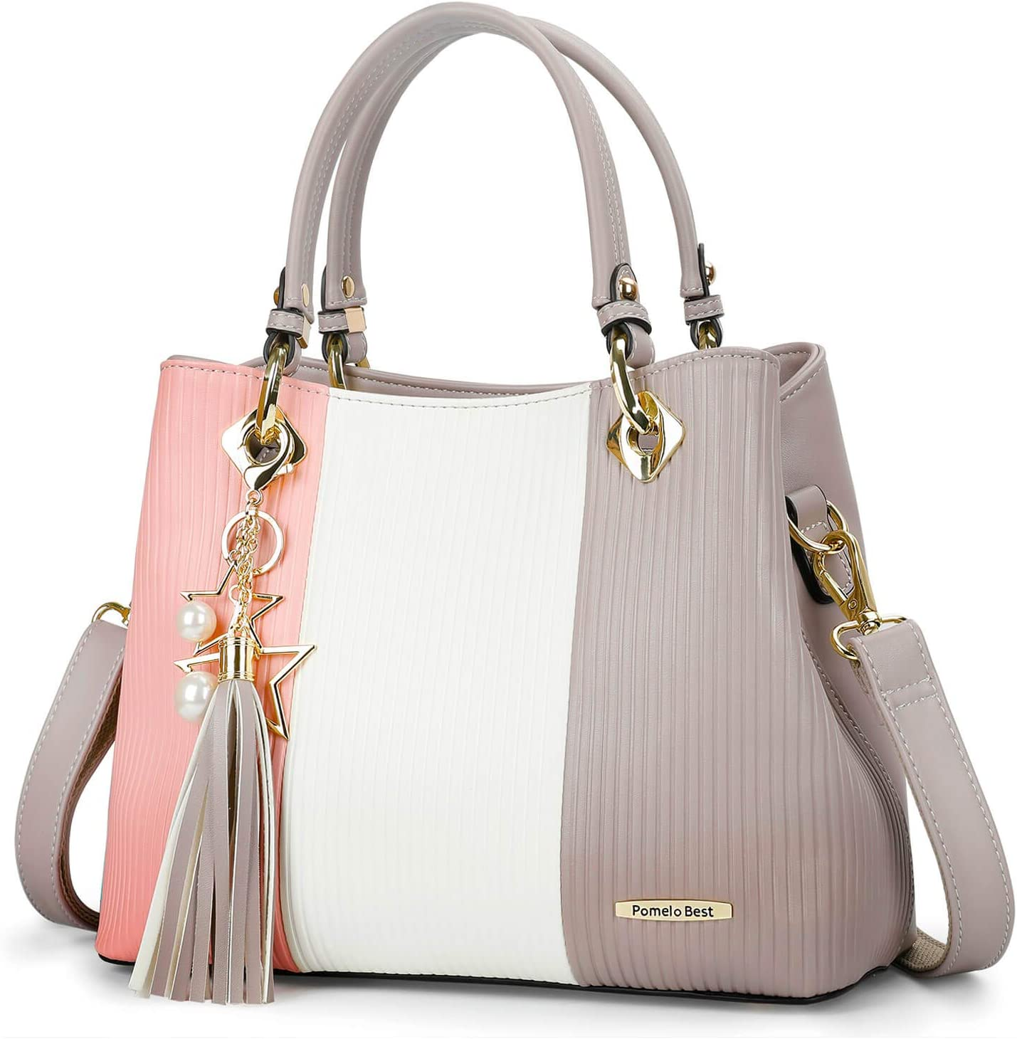Pomelo Best Damen Handtasche Mehrfarbig gestreift Umhängetasche Shopper Tote Henkeltasche (Rosa): Amazon.de: Koffer - Tasche rosa