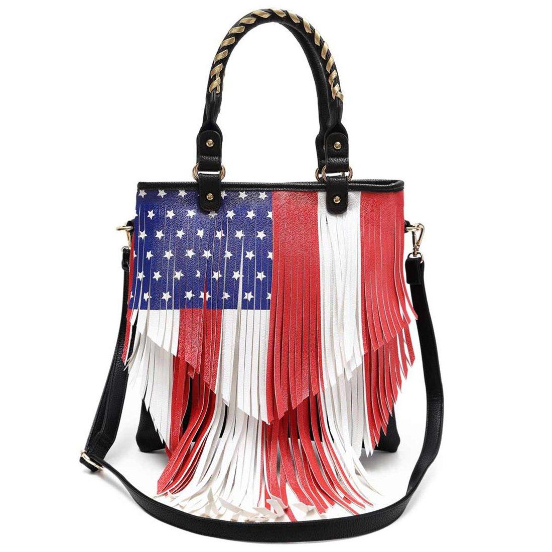 American Flag Stars and Stripes Fringe Cross Body Handbags Western Tote Purse Women Single Shoulder Bag (Black)