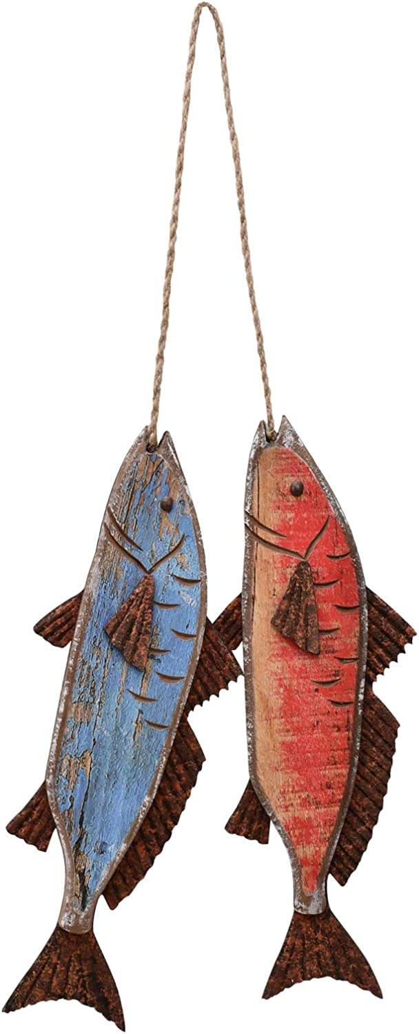 Hanging Wooden Fish Decorated Antique Wall Decorations Indoor Outdoor Wood Fish Decor Nautical Wood Fish Hanging Fish Decorations Nautical Outdoor Wall Decor Fish Wall Art Decor (8.6