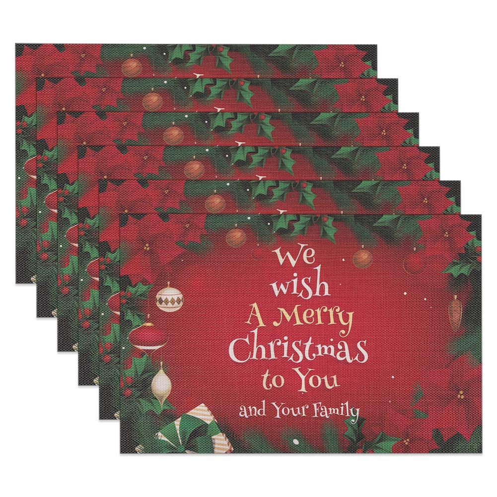 SICOHOME Christmas Placemats,Set of 6,Red Placemat for Christmas Dining Table,Home,Kitchen,Office and Outdoor