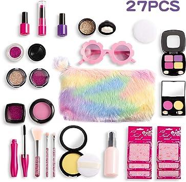 Joyjoz Set de Maquillaje Falso para Niñas de 27PCS, Kit de Maquillaje de Falso Unicornio para Niños, Juego de rol para Niñas Pequeñas Cumpleaños: Amazon.es: Juguetes y juegos