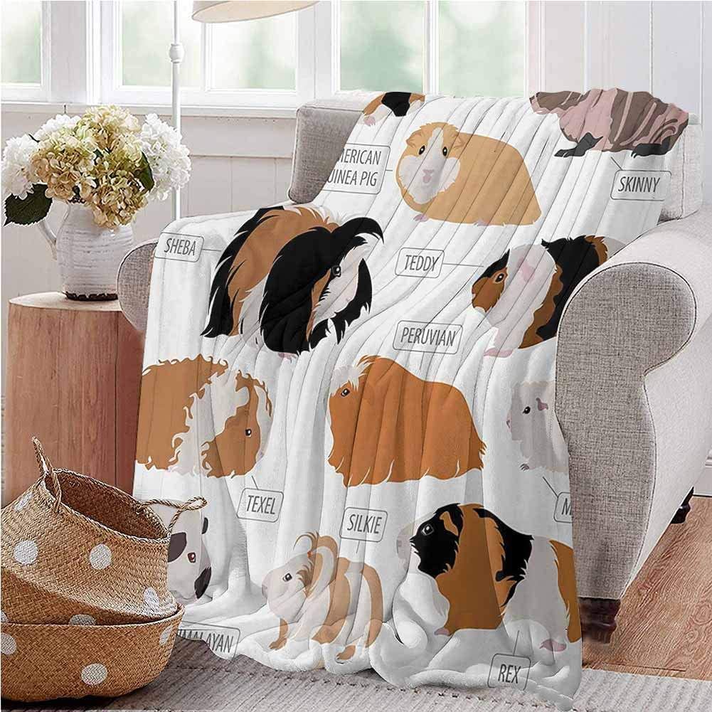 Guinea Pig Flannel Throw Blanket Infographic Design Classification for Types of Rodent Breeds Super Soft Plush Blanket 60x80 Inch Sand Brown Amber and Ginger Twin Size