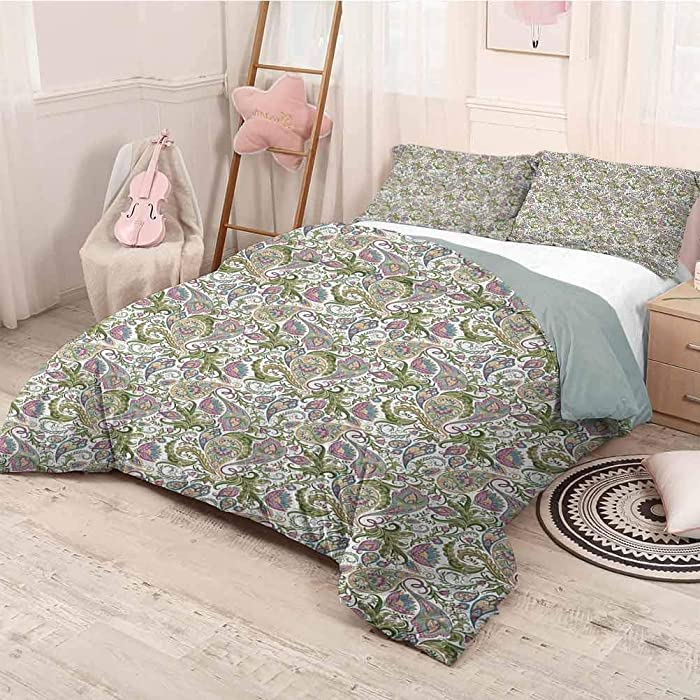 prunushome Paisley 3 Pieces for Quilt Cover Pillow Case Traditional Persian Pickles Pattern Vintage Style Arabesque Ornament Bedroom Decoration 3 Pieces Bed Set Green Purple Light Brown Twin