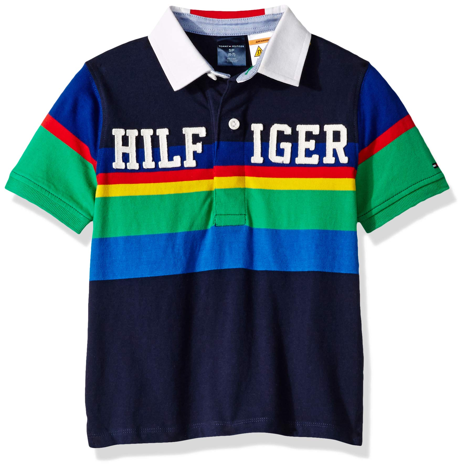 Tommy Hilfiger Boys' Adaptive Polo Shirt with Magnetic Buttons, Peacoat MD
