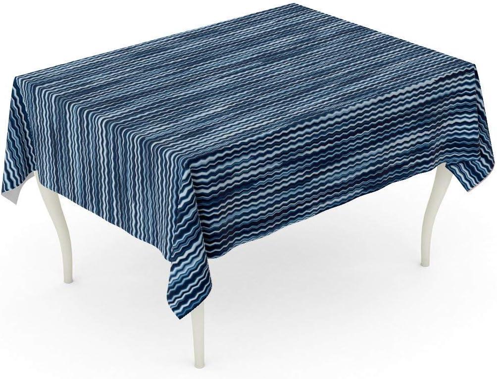 LIS HOME Rectángulo Mantel Azul Melange Abstracto Rayas ...