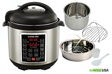GoWISE USA GW22623 1300W 4th-Generation Electric Pressure Cooker with Steam Rack and Basket, 8 quart