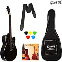 KETOSTICS Givson Venus VS-BLK, Right Handed 6 Strings Acoustic Guitar with Cover/Bag (Black)
