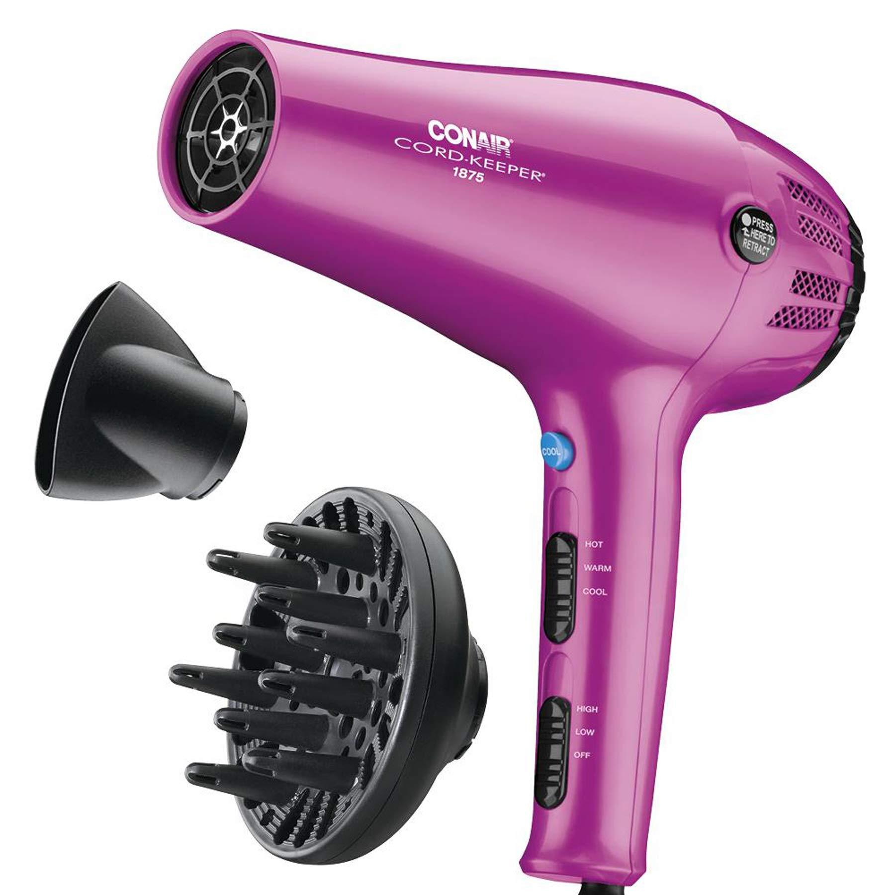 Conair 1875 Watt Cord-Keeper Hair Dryer; Pink by Conair