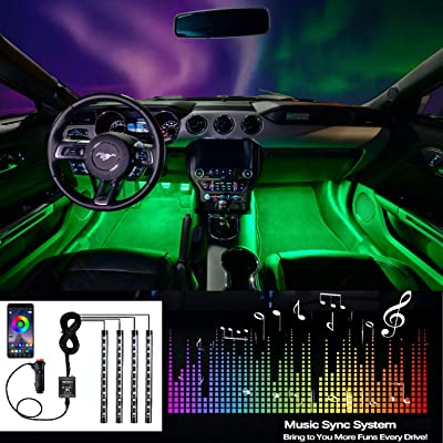EXPERTBEAM Car Interior Lights, Truck Lights Interior Lighting Kits, 8 colors 4 pcs 48 LED Multi Color Car LED Strip Lights, New App Control Under Dash Lighting Kit DC 12V: Automotive