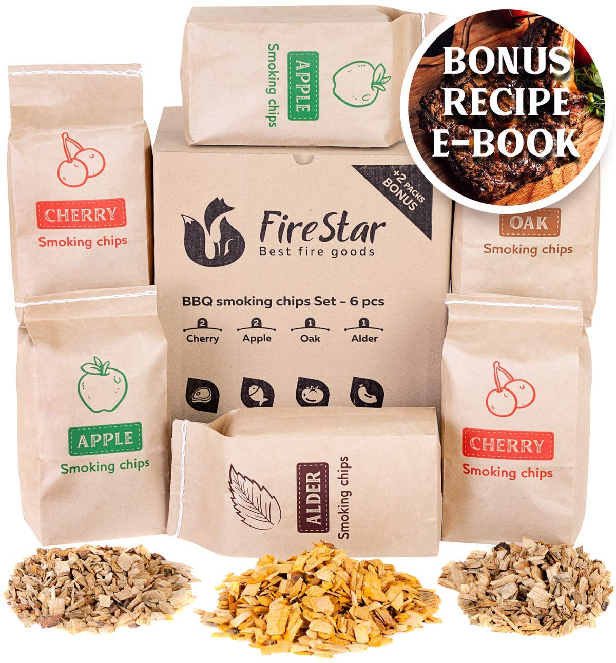 Wood chips for smokers - Oak | Alder | Cherry | Apple smoker chips - Wood chips for smoking and grilling (bbq and grill) - Variety pack 6 pcs + bonus e-book by FireStar