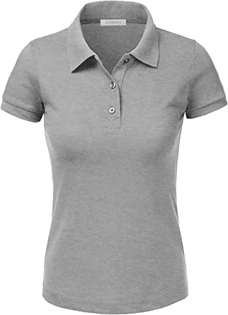 J. LOVNY Women's Slim Fit Long Waist Short Sleeve Plain Polo Tee Shirts