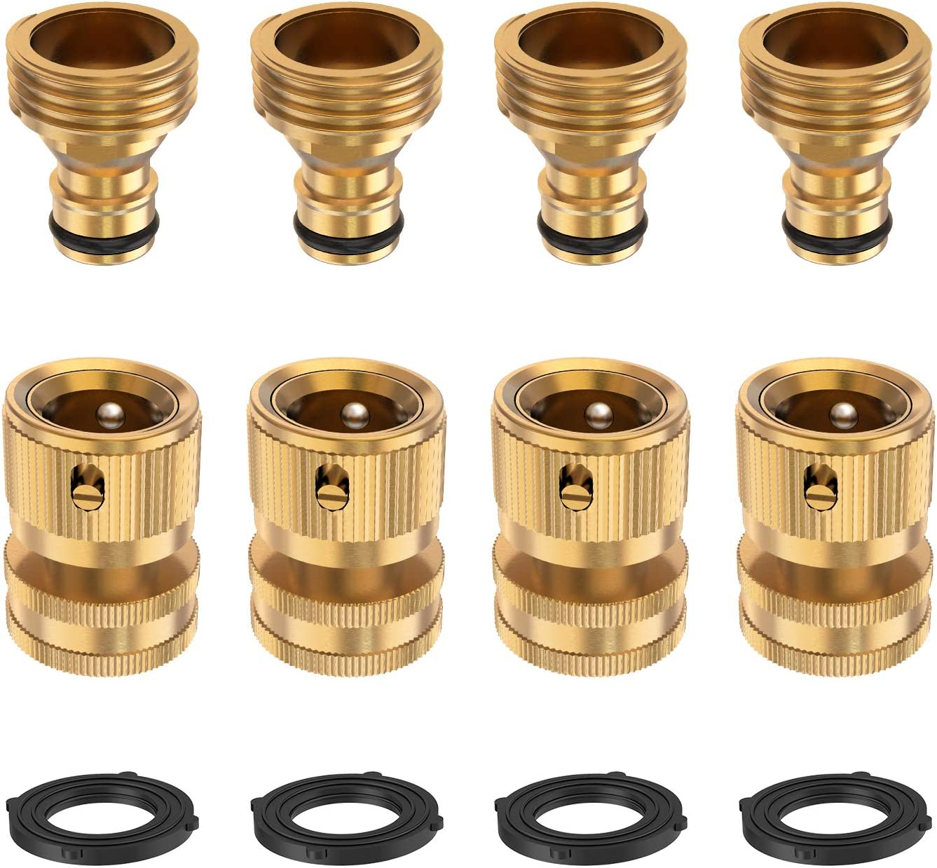 Tikola Garden Hose Brass Quick Connector 4 Sets, 3/4 Inch GHT Thread Water Hose Fittings Female and Male Adapter No Leak