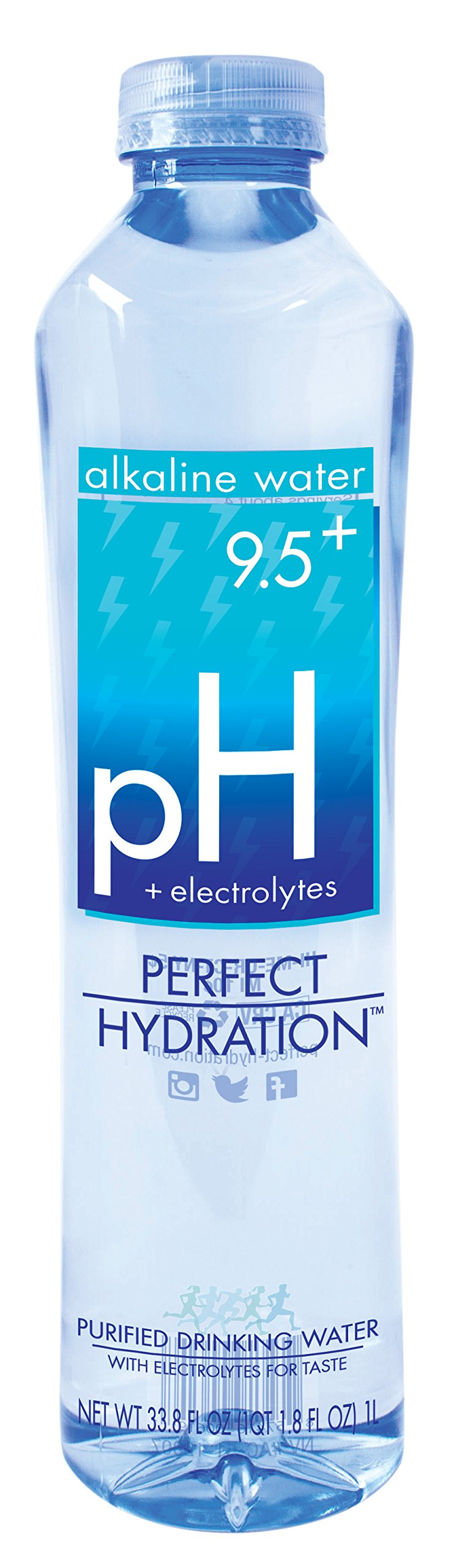 Perfect Hydration Alkaline Electrolyte Enhanced Water, 9.5+ pH | Ultra Purified Ionically Charged Minerals Added Drinking Water | No Added Sodium, Chlorine, Fluorine, 1 Liter/33.8 Ounce (12 Pack)