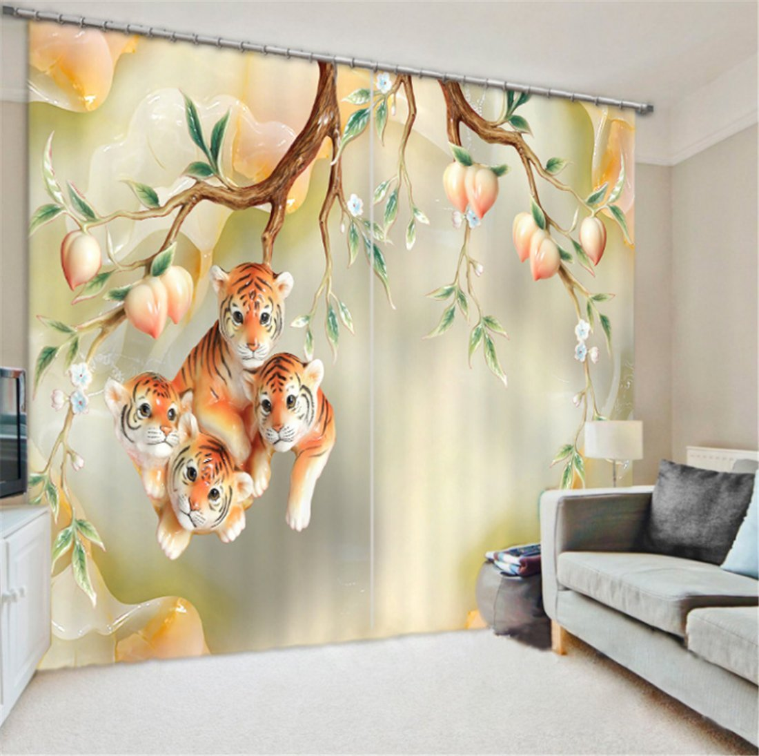 LB Teen Kids Animal Decor Collection,2 Panels Room Darkening Blackout Curtains,Young Tiger 3D Effect Print Window Treatment Curtains Living Room Bedroom Window Drapes,80 x 84 Inches