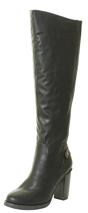 6d0318aefae New Womens Ladies Knee High Boots Heel Gusset Stretchy Fit Wide Calf Black  Brown