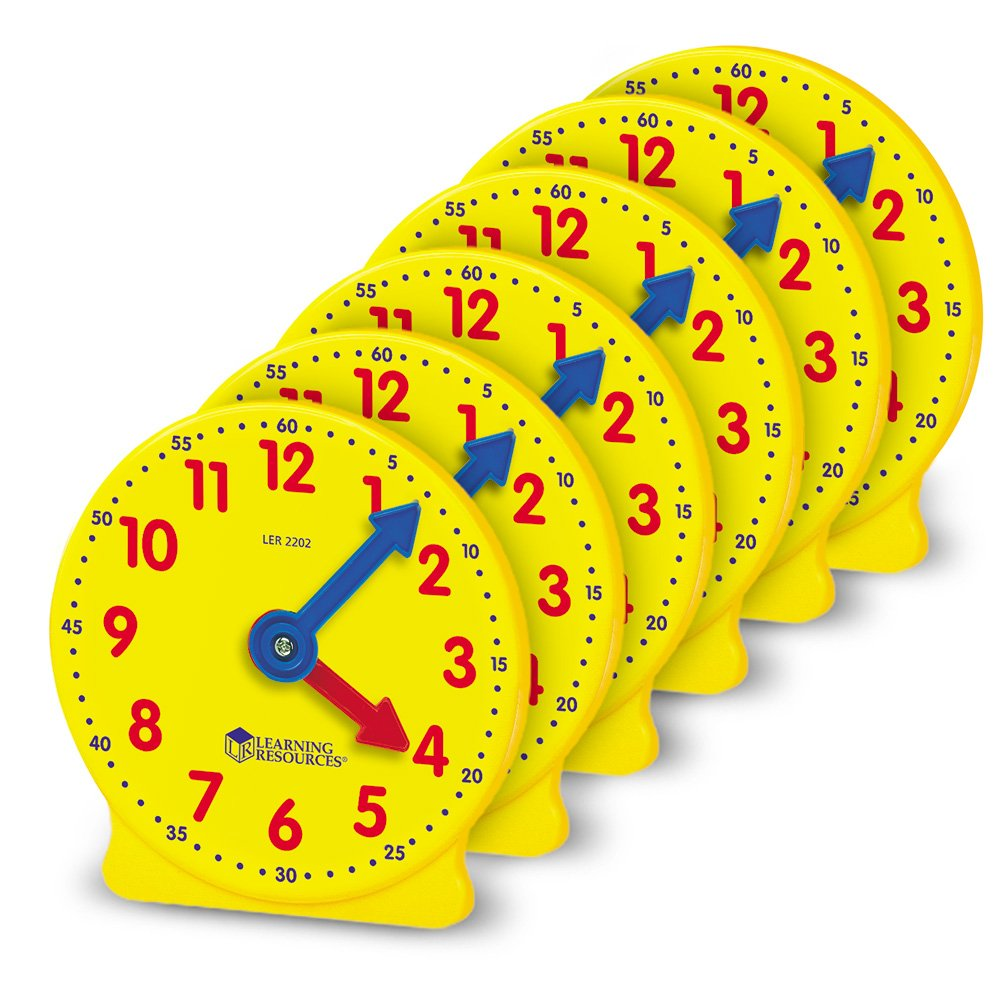 Learning Resources Gear Clock, 4 Inch, Set of 6