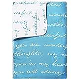 Divine Casa Natty Abstract Microfiber Reversible Single Dohar/Blanket - Sky Blue and White